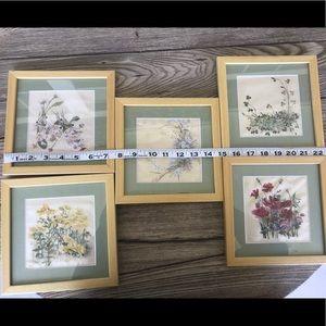 Set of Five Vintage Floral Paintings on Silk